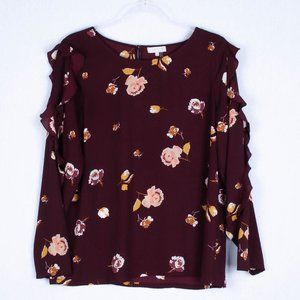 1. State Floral Ruffle Blouse Size Medium